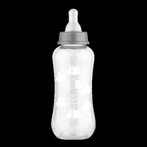 Стеклянная бутылочка с силиконовой соской, 250 мл